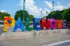 The name written by the city of Palenque, huge colorful letters in the city center on the street. Palenque, Chiapas, Mexico. The name written by the city of royalty free stock images
