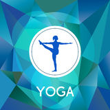 Name of yoga studio on a modern polygonal background. Royalty Free Stock Images