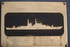 Nameboard van de Russische torpedojager van de eerste rang close-up royalty-vrije stock foto's