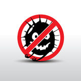 Virus. Illustration of Cartoon Stop virus - Black virus in red alert sign Royalty Free Stock Photography