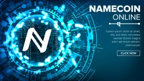 Namecoin Abstract Technology Background Vector. Binary Code. Fintech Blockchain. Cryptography. Cryptocurrency Mining Stock Photo