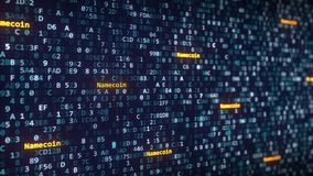 Namecoin attribue un libelle apparaître parmi changer des symboles hexadécimaux sur un écran d'ordinateur rendu 3d Photo libre de droits