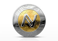 Cryptocurrency Physical Coin. A namecoin physical cryptocurrency in gold and silver coin form on a dark studio background- 3D render Stock Photos