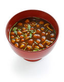 Nameko mushrooms miso soup Royalty Free Stock Images