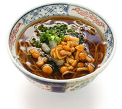 Nameko soba, japanese buckwheat noodle cuisine Royalty Free Stock Photo