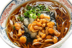 Nameko soba, japanese buckwheat noodle cuisine Stock Photos