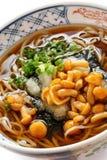 Nameko soba, japanese buckwheat noodle cuisine Royalty Free Stock Image