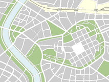 Nameless City Map. Generic nameless city map with streets, railway, green belts and a river. Eps file available Royalty Free Stock Photos