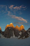 Nameless tower. Nice colors of nameless tower situated on snow lake, very remote area of biafo hispar trek Stock Image