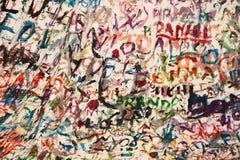 Namen gemalt auf einer weißen Decke Stockbilder