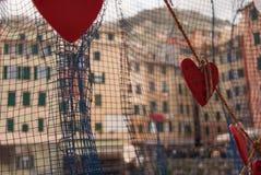 Namen van minnaars op harten in Camogli worden geschreven die stock fotografie
