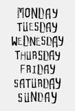 Namen von Wochentagen, Weinleseschmutz typografisch Lizenzfreie Stockfotos