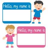 Namensmarke mit Kindern Stockfotografie