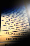 Nameplate in all EU languages in front of the European Parliamen Royalty Free Stock Photography