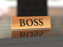 Nameplate with Boss text Royalty Free Stock Photography