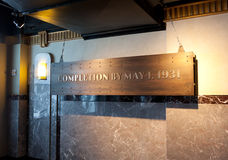 Nameplate in the observatory of the Empire State Building. New York City, USA - July 10, 2015: Nameplate, in the observatory of the Empire State Building, which Royalty Free Stock Photo