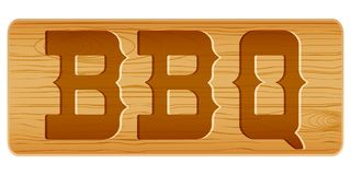 Nameplate Of Wood For Menu With Word BBQ. Royalty Free Stock Photography