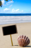 Nameplate with seashell on the sandy beach Stock Photography