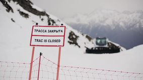 Nameplate with sign truck is closed. Ski resort. Snowy mountains. stock video
