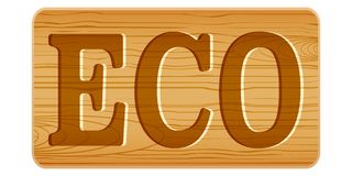Nameplate of wood for menu with word ECO. Stock Photos