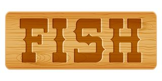Nameplate of wood for menu with word FISH. Stock Photos