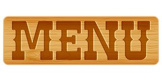 Nameplate of wood with word MENU. Royalty Free Stock Photos