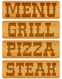 Nameplate of wood with words Menu Grill Steak Stock Image
