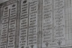 Names on the Arc de Triomphe Royalty Free Stock Photography