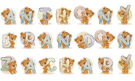 Names for boys Anthony, Brandon, Zachary made decorative letters with teddy bears Stock Photo