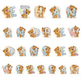 Names for boys Ethan, Andrew, Daniel, William made decorative letters with teddy bears Stock Photo
