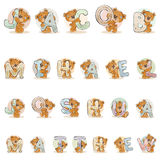 Names for boys Jacob, Mihael, Joshua, Matthew made decorative letters with teddy bears. Vector illustration lettering type design. Names for boys Jacob, Mihael Royalty Free Stock Images