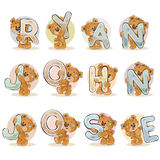 Names for boys Ryan, John, Jose made decorative letters with teddy bears Stock Images