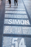 Names of Broadway theaters on the Times Square in New York City Royalty Free Stock Images