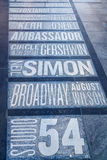 Names of Broadway theaters on the Times Square in New York City Stock Photos