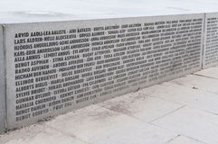 Names on the Broken line monument Stock Photo