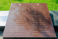 The names of those buried in the mass grave of soldiers at the memorial winning glory in the Grea. Sergiev Posad - August 10, 2015: The names of those buried in Stock Photography