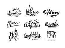 Names of cities, London, Tokyo, Sydney, Pisa, Los Angeles, Berlin, New York, Reykjavik, Barcelona, city lettering design. Hand drawn vector Illustration Royalty Free Stock Photos