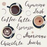 Names of drinks. And cups of Coffee top view. Template of banner and poster. Vector illustration eps 10 Stock Image