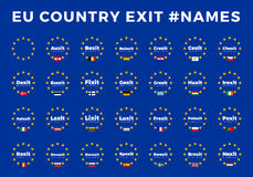 Names for EU exits Members. Brexit, Frexit, Italexit, Spexit Royalty Free Stock Image