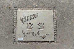Names and hand prints of stars at the Munich walk of fame in the Stock Image