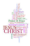 Names of Jesus. A cloud of words of the names of Jesus as written in the Bible