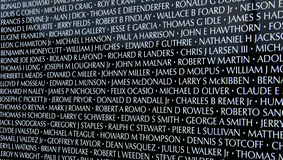 Names on Moving Wall traveing Vietnam War memorial exhibit. HAMBURG, MI - AUGUST 30: Close-up of names on the traveling Moving Wall Vietnam War memorial exhibit Stock Image