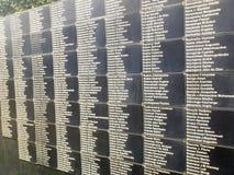 Names, National Memorial to the victims of Genocide, Kigali, Rwa. Kigali, Rwanda - March 2, 2017 : Names of victims at mass graves in National Memorial to the Royalty Free Stock Photo