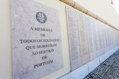 Names of the Portuguese military fallen in the African Colonial War Stock Images
