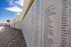 Names of the Portuguese military fallen in the African Colonial War Royalty Free Stock Images