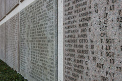 Names of Second world war casualties on a tribute wall in Floren Royalty Free Stock Photos