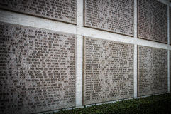 Names of Second world war casualties on a tribute wall in Florence Stock Photos