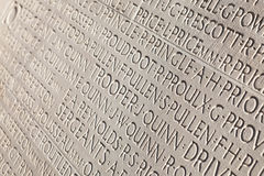 Names of soldiers engraved in white marble. Stock Photography