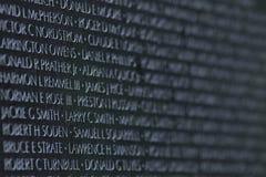 Names in Stone--Vietnam Memorial, Washington, D.C. Stock Photography