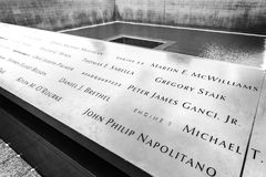 Names of the victims of attacks inscribed on the parapets. stock image